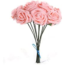 SODIAL(R) Planta Artificial Ramo Flor Rosa Rosado Decoracion Espuma PE Novia Boda