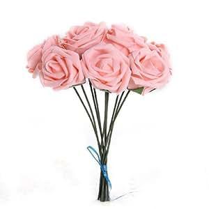 Gleader Pianta artificiale fiore Mazzo Rose rosa da sposa decorazione di cerimonia PE Schiuma