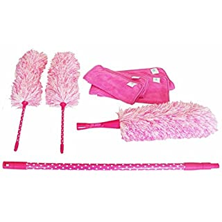 Aqua Laser Eight Piece Super Duster Set Dust Mop Brush Cleaning Set Home Pink