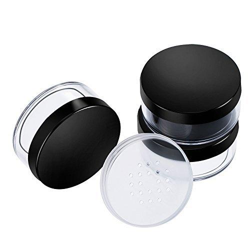 3 Packung 50 ml Kunststoff Empty Powder Case Gesicht Pulver Make-up Container Blusher Kosmetik-Container mit Sifter und Deckel, Schwarz