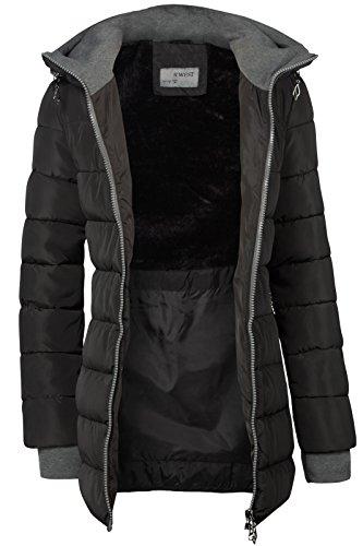 Winter Damen STEPP Mantel LANG Jacke GEFÜTTERT Kapuze ÄRMEL MIT DAUMENSCHLAUFEN, Farbe:Schwarz, Größe:L - 4