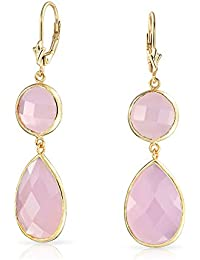 Bling Jewelry Pink Simulated Chalcedony Gold Plated Silver Leverback Earrings