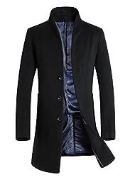 Vogstyle Herren Winter Slim Fit Wollmantel Business Überzieher Schlank Lange Windbreaker Jacken Schwarz XL