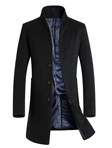 Vogstyle Herren Winter Slim Fit Wollmantel Business Ãœberzieher Schlank Lange Windbreaker Jacken Schwarz M