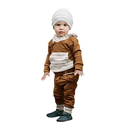Fenverk 2Pc Neugeborenes Kinder Baby Jungs Outfits Kleider Brief T-Shirt Tops Tarnen Hose Kleinkind LangäRmlig Kapuzenpullover Sweatshirts + Hosen Outfit 0-1 Jahre(Braun,6-12 Monate) -