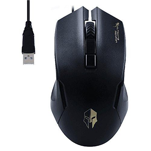 Gaming Maus, fourheart 4Button LED Wired Gaming Maus PC Maus mit 2verstellbaren DPC Level (1000/1600) für Win7/Win8/XP/Vista/OSX–-- schwarz (Programmierbare Sicherheits-licht-schalter)