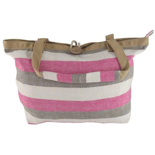 Bill Brown große Leinwand zip top Schultertasche für Schule - grau beige & rosa Streifen (BB91)