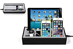 Hapurs Apple Watch Charging Stand Cradle Holder & Iphone iPad Charging Station Iphone iPad Charging Dock Multi-Device Charging Dock & Desktop Organizer for Smartphones & Tablets(Black)