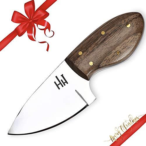 Hobby Hut HH-902, 12.7 cm, 01 Kohlenstoffstahl, Jagdmesser mit Scheide, Micarta Griff, lederscheide