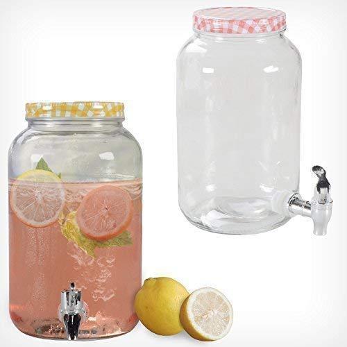 Getränkespender mit Hahn 3L 7L Glas Landhaus Dispenser Getränke Spender Saft (3 Liter, Rot) -