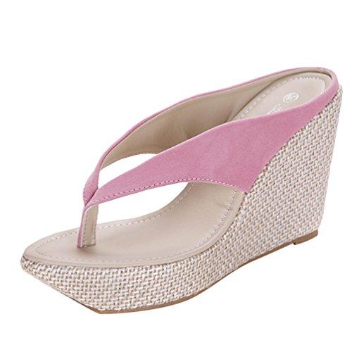 Lvguang Donne Sandali con Zeppa Casual Scarpe da Spiaggia Tacchi Alti Aperte Toe Sandali Infradito Pink,Asia 33(21.5cm)