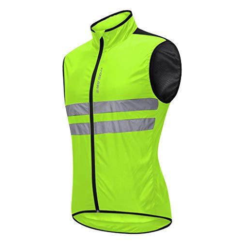Baoblaze Atmungsaktiv Fahrradweste Radweste Windweste Laufweste Reflektierende Weste Winddicht Ärmellos Sport Mantel Jacke für Laufen Fahrrad Sport - Grün M