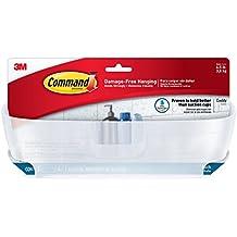 Command - Cesta de ducha con tiras resistentes al sgua, plástico, blanco, 28,8x15,2x12,2 cm