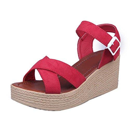 BescitaFrauen Mode Sommer Hang mit Flip Flops Sandalen Slipper Schuhe Rot