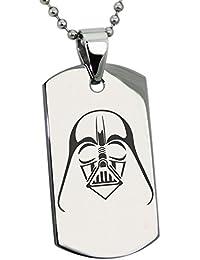 Acero Inoxidable Star Wars Darth Vader Grabado Placa de Identificación del Colgante