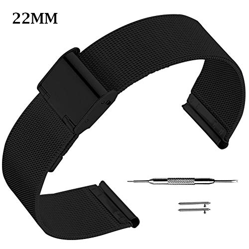 Desirabely | 18/20/22mm Small Charming Metal Mesh Watch Band with Hook Buckle Solid Stainless Steel Bracelet Universal Milanese Wrist Strap Unisex Replacement for Smart