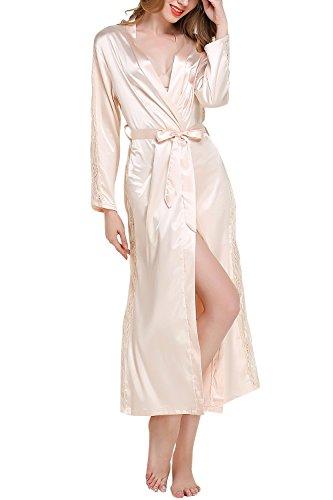 Dolamen Mujer Vestido Kimono Satén Largo, Cordón Camisón para Mujer, Lujoso Robe Albornoz...