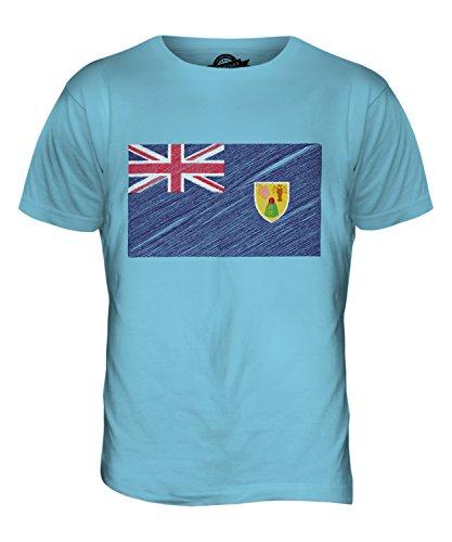 CandyMix Turks- Und Caicosinseln Kritzelte Flagge Herren T Shirt Himmelblau