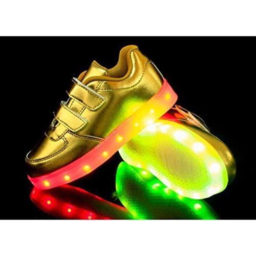 [Présents:petite serviette]JUNGLEST® 7 couleurs Kid Garçon Fille de recharge USB Chaussures LED Light Up Sport lumineux cl Or