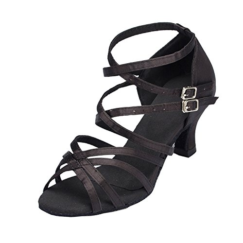 Damen Ankle Minitoo Wrap Med Dance Shoes Pumps-Satin Schwarz