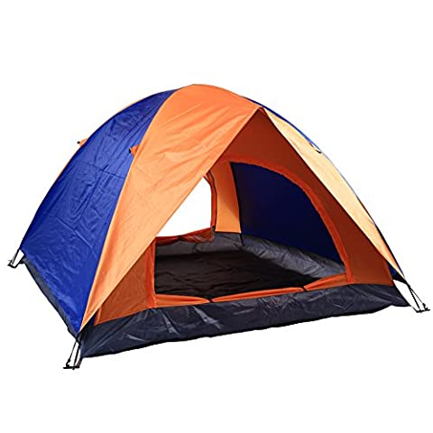AZLife Lightweight Anti-UV 3-4 Person Dome Tent with Carry Bag for Camping Backpacking Hiking Traveling(Orange and