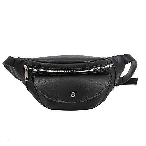 Damen mode Kette Leder Messenger Bag Umhängetasche Brusttasche,Hüfttasche Umhängetasche für Damen und Herren,Running Belt Laufgürtel Hüfttasche Reisetasche (Schwarz1) -
