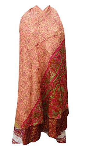 Frauen-Abnutzungs-Sommer-Hippie Kleidung Polyester-Kleid-lange Wickelrock Flora Free Größe Pfirsich