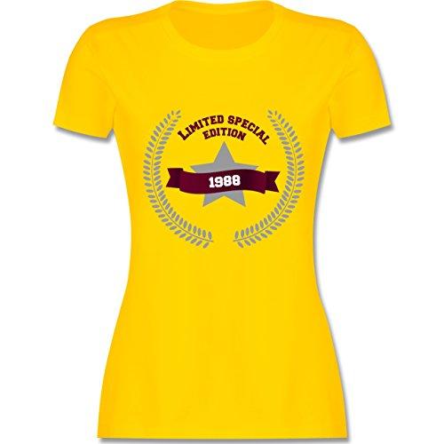 Shirtracer Geburtstag - 1988 Limited Special Edition - Damen T-Shirt Rundhals Gelb