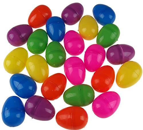 Fun machine - set di 24 uova a sorpresa in plastica brillante, da riempire con regali per la caccia di pasqua e cioccolato
