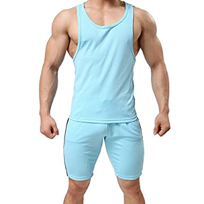 Men's Sexy Undershirt Vest Sleeveless Underwear Sports Tank Top Shorts Suit 2-piece Sets