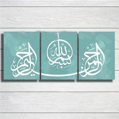Leinwand-wand-kunst Arabisch (Arabische Kalligraphie Islamische Gemälde Handgemalt Wand Kunst Öl Gemälde auf Leinwand 3PCS für Wohnzimmer Home Dekorationen Holz gerahmt fertig zum Aufhängen)