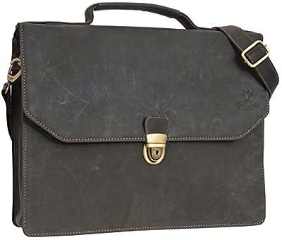 """Porte-documents - Gusti Cuir studio """" Travis"""" sac à bandoulière serviette vintage sac notebook rétro homme femme cuir de buffle gris 2B7-22-6 S"""