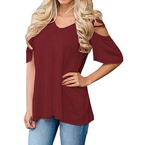 Yeesea Damen Schulterfrei Oberteil Loose Kurzarm Hemd Top Cold Shoulder Cut Out Bluse T-shirt Weinrot