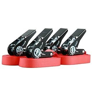 Sandax 1042.0027 Zurrgurt 6m, 25mm, Gurtfarbe rot (4 STK. per, 1-teilig, LC 400 daN, 4 Stück pro Beutel, Schwarze Ratsche, nach EN 12195-2, GS-Zeichen