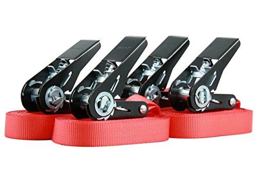 4 Stück Spanngurte Zurrgurte Ratschengurte, hochwertige schwarze Ratsche, belastbar bis 400kg, nach DIN EN 12195-2, Länge 6m Breite 25mm, einteilig, rot