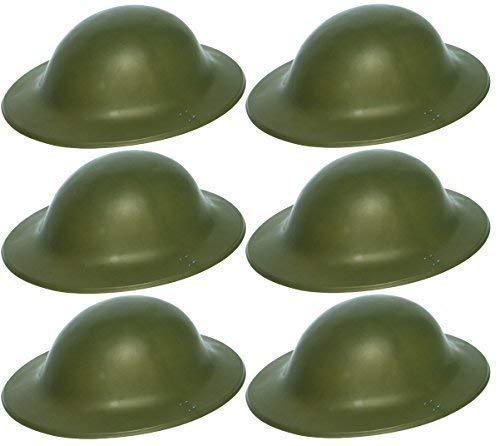 6 x grün Britische Armee Soldat Helm 2. WELTKRIEG Zweiter Weltkrieg Tommy Verkleidung Kostüm Zubehör