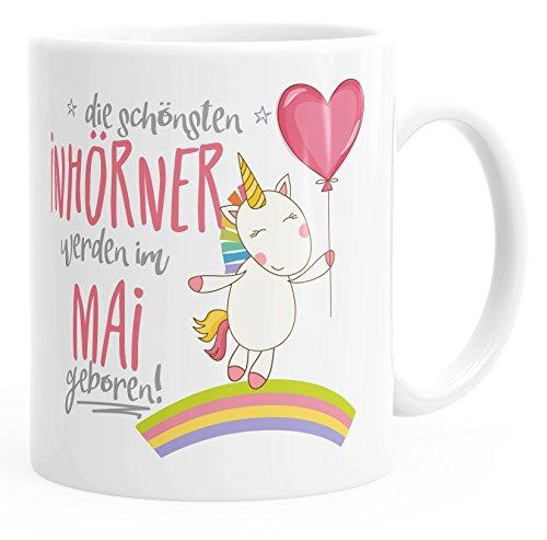 *Geschenk-Tasse die besten Einhörner werden im Mai geboren MoonWorks® Geburtstags-Tasse einfarbig weiß unisize*