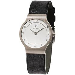 Obaku Denmark Flat Titanium Ladies Watch with Leather Strap V133LTIRB1
