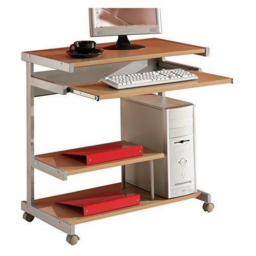 Computertisch PC Station JOKER in buche mit Tastaturauszug, auf Rollen