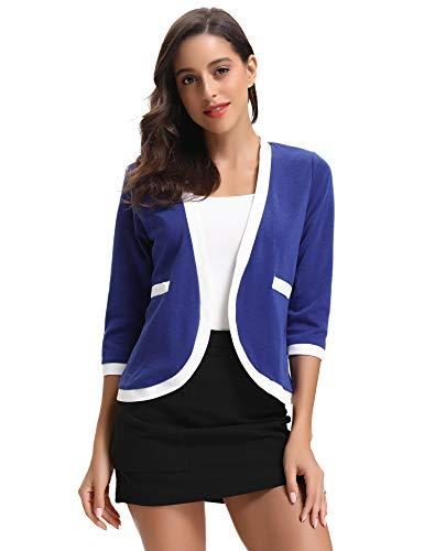 Abollria Cardigan Donna Elegante Primaverile Manica 3/4 Lunghezza Giacche da Abito e Blazer Casual Cappotto Leggero per Primavera Estate