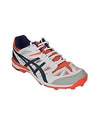 Asics Mens Gel Odi White, Navy and Neon Orange Mesh Cricket Shoes - 11 UK