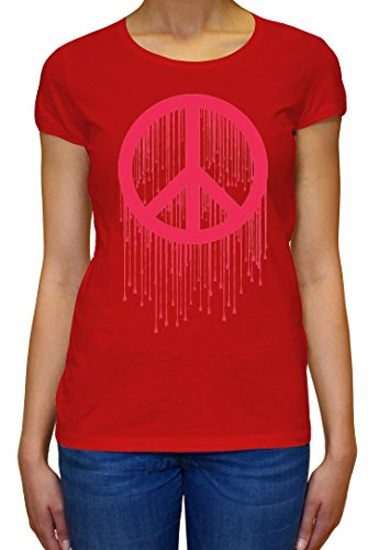 Peace Painted Logo Pink Graphic Design Women's T-shirt XX-Large (Logo Womens Painted T-shirt)