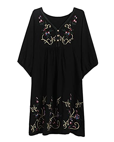 Xinqiao Women's T-shirt Tunic Dresses Mexican Embroidered Peasant Tops Blouses (Black)