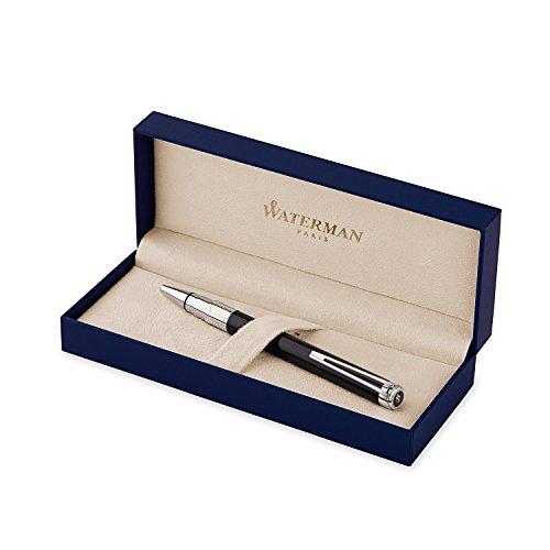 Waterman Perspective Kugelschreiber (hochglänzend Schwarz mit Chromzierteilen, mittlere Schreibspitze, blaue Tinte, Geschenkbox)