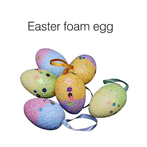 Wokee 12 uova di pasqua giocattolo decorazioni uovo di schiuma diy colorato disegno ornamenti appesi