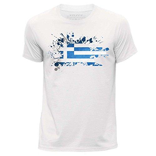 STUFF4 Herren/X Klein (XS)/Weiß/Rundhals T-Shirt/Griechisch Flagge (Muster Griechische Kleid)