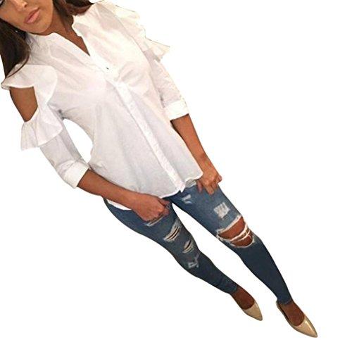 Bluse Damen, DoraMe Frauen Lange ärmel Bluse Zerzauste Halskrause Schulter Shirt (S, Weiß) (Wolle Zerzauste Strickjacke)