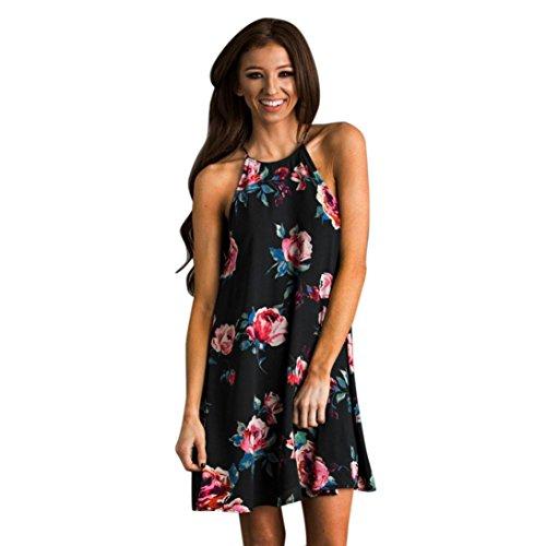 Vestido mujer verano, Magiyard O-cuello sin mangas de flores impresas vestido de noche vestido de fiesta (XL, negro)