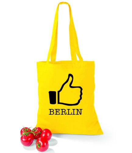 Artdiktat Baumwolltasche I like Berlin Yellow