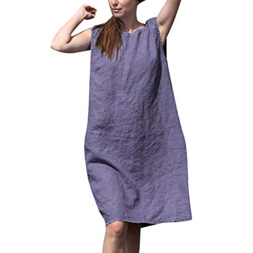 Chejarity Kleider Damen Ärmellos Sommerkleider Elegante Frauen Lose Minikleid Boho Beachwear Baumwolle Strandkleider Urlaub Etuikleid Tunika Kleid (XL, Lila) -